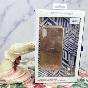 Rebecca Minkoff Metallic Leather iPhone X Case NWT